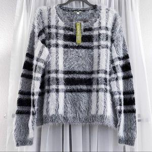 Gianni Bini Black and White Plaid Fuzzy Sweater
